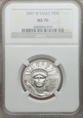 Modern Bullion Coins, 2007-W $50 Half-Ounce Platinum Eagle MS70 NGC. NGC Census: (0).PCGS Population (133). Numismedia Wsl. Price for problem f...