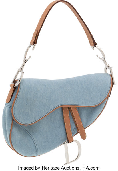 425ec07dc Luxury Accessories:Bags, Christian Dior Denim and Tan Leather Saddle Bag.