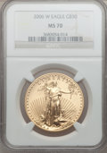 Modern Bullion Coins, 2006-W $50 One-Ounce Gold Eagle MS70 NGC. NGC Census: (2935). PCGSPopulation (506). (#89989)...