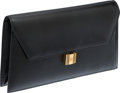 Luxury Accessories:Bags, Hermes 23cm Black Calf Box Leather Cadena Clutch with GoldHardware. ...