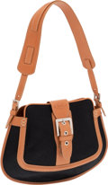 Luxury Accessories:Bags, Tod's Camel Leather and Black Waxed Cotton Media Hobo Bag. ...