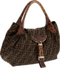 Luxury Accessories:Bags, Fendi Monogram Canvas Spy Hobo Bag with Horn Flap. ...