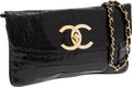 Luxury Accessories:Bags, Chanel Shiny Black Crocodile Clutch with Gold Chain Shoulder Strap....