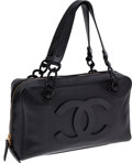 Luxury Accessories:Bags, Chanel Black Caviar Leather Bowling Bag with Lucite Chain. ...