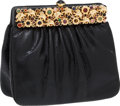 Luxury Accessories:Bags, Judith Leiber Black Lizard Clutch with Gold Elephant and CabochonClosure. ...