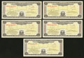 Miscellaneous:Other, Postal Savings System Series 1939 $100 Certificate June 25, 1942Five Consecutive Examples.. ... (Total: 5 notes)