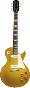 "Musical Instruments:Electric Guitars, 1955 Gibson Les Paul Standard ""Gold Top."" Serial number 5-8609. Anexceptionally clean example of the classic Les Paul Stand...(Total: 1 Item)"