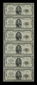 National Bank Notes:Oklahoma, Lone Wolf, OK - $5 1929 Ty. 2 The First NB Ch. # 10096 Uncut Sheet. This serial number 1 Type 2 sheet from Lone Wolf is ...