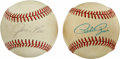 Autographs:Baseballs, Pete Rose and Jim Rice Single Signed Baseballs Lot of 2.Power-hitting left fielder, Jim Rice played his entire majorleagu...