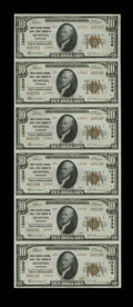 National Bank Notes:Tennessee, Memphis, TN - $10 1929 Ty. 2 Union Planters NB & TC Ch. # 13349Uncut Sheet. Heavy embossing is noticed on this splendid...