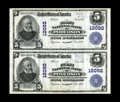 National Bank Notes:Virginia, Poquoson, VA - $5 1902 Plain Back Fr. 608 The First NB Ch. # 12092Uncut Pair. A newly discovered uncut pair from this j...