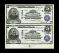 National Bank Notes:Virginia, Yorktown, VA - $5 1902 Plain Back Fr. 607 The First NB Ch. #(S)11554 Uncut Pair. Like the Poquoson pair offered above, ...