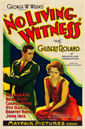 "Movie Posters:Drama, No Living Witness (Mayfair Pictures, 1932). One Sheet (27"" X 41"")....."