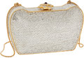 Luxury Accessories:Bags, Judith Leiber Full Bead Crystal Minaudiere Evening Bag with Floraland Ruby Cabochon Clasp. ...