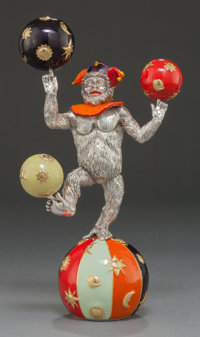 A TIFFANY & CO. SILVER AND ENAMEL JUGGLING CIRCUS MONKEY ON BALL DESIGNED BY GENE MOORE Tiffany & Co., New York...