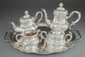 Silver Holloware, Continental:Holloware, A FIVE PIECE GERMAN SILVER AND SILVER GILT TEA AND COFFEE SERVICEWITH TRAY . Maker unknown, Germany, circa 1930. Marks: (cr...(Total: 5 Items)