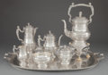Silver Holloware, Continental:Holloware, A SEVEN PIECE KURZ & CO. HANAU SILVER TEA AND COFFEE SERVICEAND TRAY . J. Kurz & Co., Hanau, Germany, circa 1870. Marks:... (Total: 9 Items)