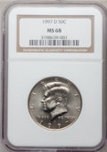 Kennedy Half Dollars: , 1997-D 50C MS68 NGC. NGC Census: (5/0). PCGS Population (4/0).Mintage: 19,876,000. (#6772)...