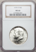 Kennedy Half Dollars: , 1970-D 50C MS66 NGC. NGC Census: (117/5). PCGS Population (245/2).Mintage: 2,150,000. Numismedia Wsl. Price for problem fr...