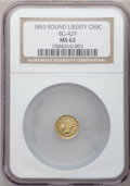 California Fractional Gold: , 1853 50C Liberty Round 50 Cents, BG-429, Low R.4, MS62 NGC. NGCCensus: (15/4). PCGS Population (40/9). (#10465)...