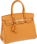 Luxury Accessories:Bags, Hermes 30cm Saffron Ostrich Birkin Bag with Gold Hardware. ...