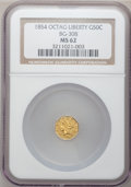 California Fractional Gold: , 1854 50C Liberty Octagonal 50 Cents, BG-308, R.4, MS62 NGC. NGCCensus: (7/2). PCGS Population (35/20). (#10428)...