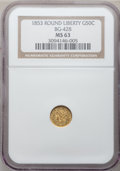 California Fractional Gold: , 1853 50C Liberty Round 50 Cents, BG-428, R.3, MS63 NGC. NGC Census:(6/4). PCGS Population (28/6). (#10464)...