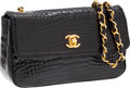 Luxury Accessories:Bags, Chanel Shiny Black Crocodile Mini Flap Bag with Gold Hardware. ...