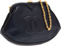 Luxury Accessories:Bags, Chanel Navy Blue Lambskin Leather Half Moon Bag. ...