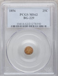 California Fractional Gold: , 1856 25C Liberty Round 25 Cents, BG-229, R.4, MS62 PCGS. PCGSPopulation (41/39). NGC Census: (6/4). (#10414)...