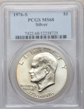 Eisenhower Dollars: , 1976-S $1 Silver MS68 PCGS. PCGS Population (459/0). NGC Census: (71/0). Mintage: 11,000,000. Numismedia Wsl. Price for pro...