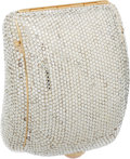 Luxury Accessories:Bags, Judith Leiber Full Bead Silver Crystal Minaudiere Evening Bag withRose Quartz Cabochon. ...