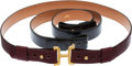 Luxury Accessories:Accessories, Hermes Belt Set; Two Leather Straps and Gold Buckle. ... (Total: 2Items)