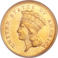 Three Dollar Gold Pieces, 1868 $3 MS61 NGC....