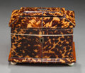 Decorative Arts, British:Other , EARLY VICTORIAN TORTOISESHELL AND IVORY DOUBLE TEA CADDY . Circa1850. 5-1/4 x 6-1/2 x 5-1/8 inches (13.3 x 16.5 x 13.0 cm)...