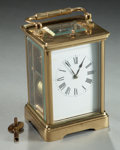 Decorative Arts, Continental:Other , A BRASS CARRIAGE CLOCK . Circa 1900. 5-1/8 x 3-5/8 x 3-1/8 inches(13.0 x 9.2 x 7.9 cm). ...
