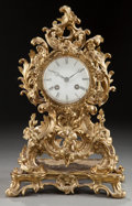 Decorative Arts, French:Other , A FRENCH LOUIS XV-STYLE GILT BRONZE FIGURAL MANTLE CLOCK . Circa1900. 13-1/2 x 8-1/2 x 5 inches (34.3 x 21.6 x 12.7 cm). ...