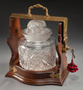 Decorative Arts, British:Other , A DORFLINGER & SONS VICTORIAN WALNUT LOCKING FRAME AND CUTGLASS LIDDED JAR . 19th century. Marks: C. DORFLINGER &SONS, N...