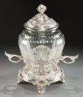 Decorative Arts, Continental:Other , A CONTINENTAL CUT-GLASS PUNCH BOWL WITH SILVER PLATED MOUNTS ANDSTAND . Circa 1900. 16-1/2 inches high (41.9 cm). ... (Total: 3Items)