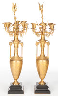 Decorative Arts, French:Other , A PAIR OF HENRY CAHIEUX FRENCH GILT BRONZE EIGHT-LIGHT CANDELABRACAST BY FERDINAND BARBEDIENNE . Henry Cahieux, Paris, Fran...(Total: 2 Items)