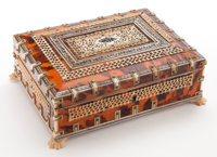 AN ANGLO-INDIAN TORTOISESHELL AND BONE BOX Maker unknown, India, circa 1850 3 x 8-3/4 x 6-3/4 inches (7.6 x 22