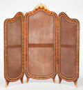 Furniture : French, AN ALEXANDER CHEVRIÉ FRENCH LOUIS XV-STYLE KINGWOOD AND GILT BRONZETHREE PANEL FOLDING SCREEN . Alexander Chevrié, Paris, F...