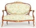 Furniture : French, A FRENCH LOUIS XV-STYLE MAHOGANY AND GILT WOOD SETTEE . Makerunknown, France, circa 1900. 41 x 50-1/2 x 24 inches (104.1 x ...