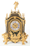 Clocks & Mechanical:Clocks, A LA GARDE FRENCH REGENCE-STYLE TORTOISESHELL, GILT BRONZE AND BRASS INLAY MANTLE CLOCK. LaGarde, Paris, France, circa 1870...