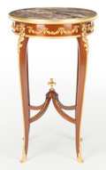Furniture : French, A FRENCH LOUIS XVI-STYLE KINGWOOD, GILT BRONZE AND MARBLE GUERIDONTABLE . Maker unknown, France, circa 1900. 29-1/2 x 18 x ...