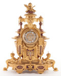 Furniture : French, A JAPY FRÈRES FRENCH SÈVRES-STYLE PORCELAIN AND GILT BRONZE MANTELCLOCK . Japy Frères, Paris, France, circa 1880. Marks: ...
