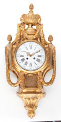 Timepieces:Clocks, A FRENCH LOUIS XVI-STYLE GILT BRONZE CARTEL CLOCK . Maker unknown, France, circa 1900. 29 inches high (73.7 cm). ...