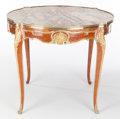 Furniture : French, A FRENCH LOUIS XV-STYLE GILT BRONZE MOUNTED KINGWOOD CENTER TABLE .Maker unknown, France, circa 1900. 30 x 37 x 37 inches (...