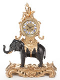 Timepieces:Clocks, A FRENCH LOUIS XV-STYLE GILT AND PATINATED BRONZE FIGURAL MANTEL CLOCK . Maker unidentified, Paris, France, circa 1880. Mark...