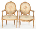 Furniture : French, A PAIR OF FRENCH LOUIS XVI-STYLE GILT WOOD AND AUBUSSON TAPESTRYUPHOLSTERED FAUTEUILS À LA REINE . Make...